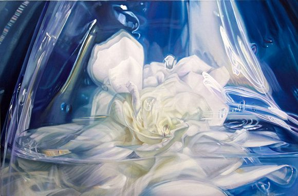 "Madison Cawein: Gardenia Odyssey, 40""x 60"" oil on linen"